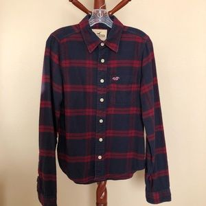 Hollister Navy/Red Plaid Flannel Button-Down